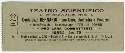 Teatro scientifico [di Mantova]. 30 maggio 1918 - ore 21. Conferenza Bernardi - con coro, orchestra e proiezioni