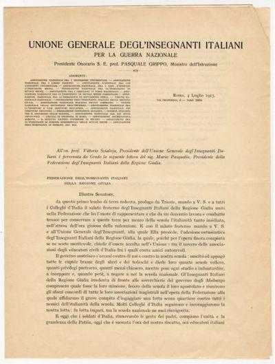Adesione della Federazione degl'insegnanti italiani della Regione Giulia all'Unione generale degl'Insegnanti italiani per la guerra nazionale