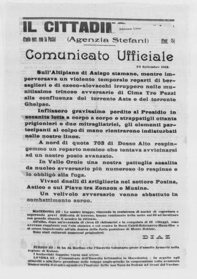 Comunicato ufficiale, 24 settembre 1918
