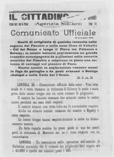 Comunicato ufficiale, 26 settembre 1918