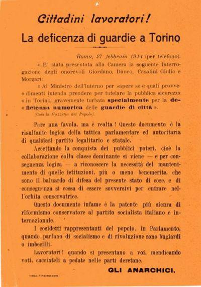 Cittadini lavoratori! : La deficenza di guardie a Torino