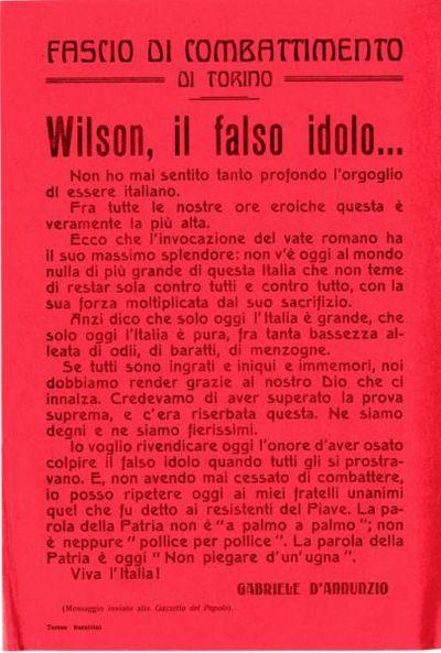 Wilson, il falso idolo... / Gabriele D'Annunzio