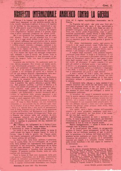 Manifesto internazionale anarchico contro la guerra / Leonard D. Abbott [et al.]