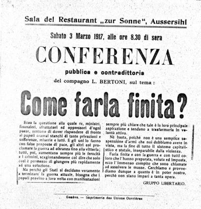 Conferenza pubblica e contraddittoria del compagno L. Bertoni, sul tema: Come farla finita?