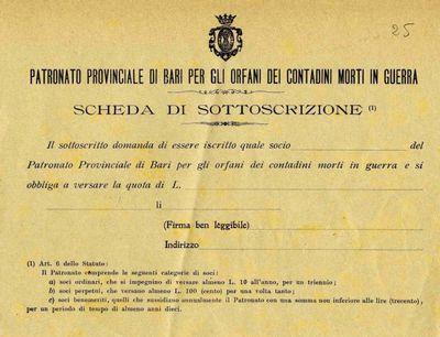 Patronato provinciale di Bari per gli orfani dei contadini morti in guerra: scheda si sottoscrizione