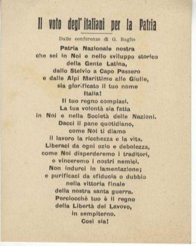 Il voto degl'italiani per la patria : dalle conferenze / di G. Baglio
