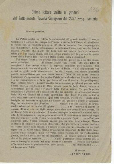 Ultima lettera scritta ai genitori dal sottotenente Tavella Giampiero del 225. Regg. Fanteria: adorati genitori..