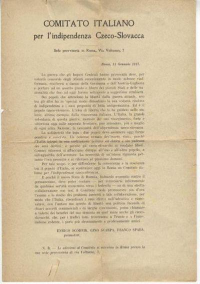 Comitato italiano per l'indipendenza czeco-slovacca... / Enrico Scodnik, Gino Scarpa, Franco Spada promotori