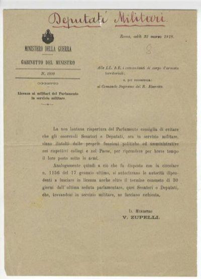 Licenza ai militari del parlamento in servizio militare : [circolare] n. 1800 / Ministero della guerra Gabinetto del Ministro