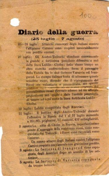 Diario della guerra : (25 luglio - 7 agosto)