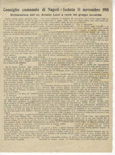 Dichiarazione dell'on. Arnaldo Lucci a nome del gruppo socialista: Consiglio comunale di Napoli - seduta 11 novembre 1918