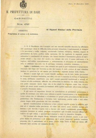 Programma di azione e di resistenza : Ai signori sindaci della Provincia : [Circolare] Num. 4765 / R. Prefettura di Bari, Gabinetto