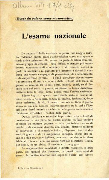 L'esame nazionale / Marco Ciriani, deputato [et al.]