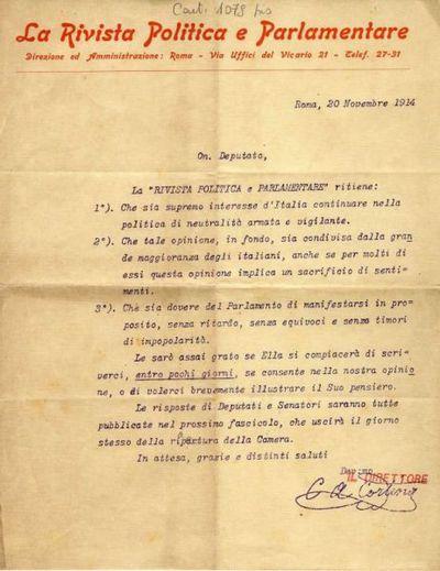 Lettera di C.A. Cortina, direttore della Rivista politica e parlamentare, a Raffaele Cotugno