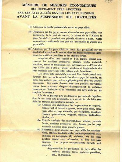 Mémoire de mesures économiques qui devraient être adoptées par les pays alliés envers les pays ennemis avant la suspension des hostilités / \Louis LePersonne!