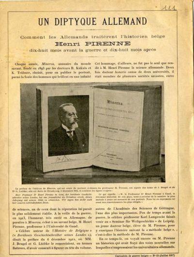 Un diptyque allemand : comment les allemands traitèrent l'historien belge Henri Pirenne ..
