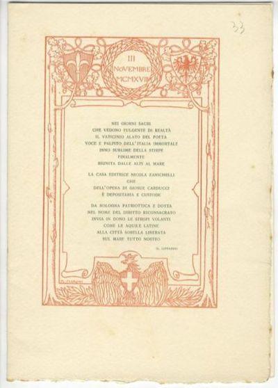 3 novembre 1918 : [versi di G. Lipparini]