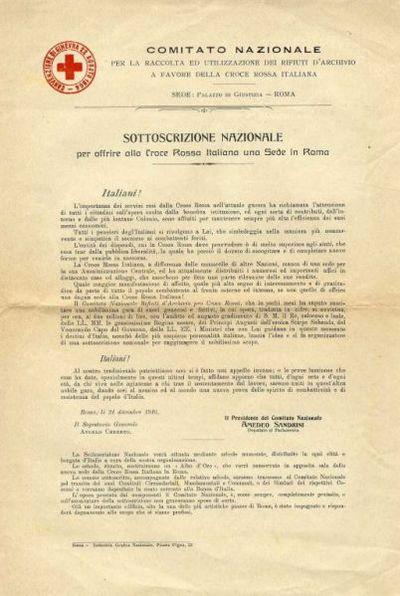 Sottoscrizione nazionale per offrire alla Croce Rossa Italiana una sede a Roma / Comitato nazionale per la raccolta ed utilizzazione dei rifiuti archivistici a favore della Croce rossa italiana