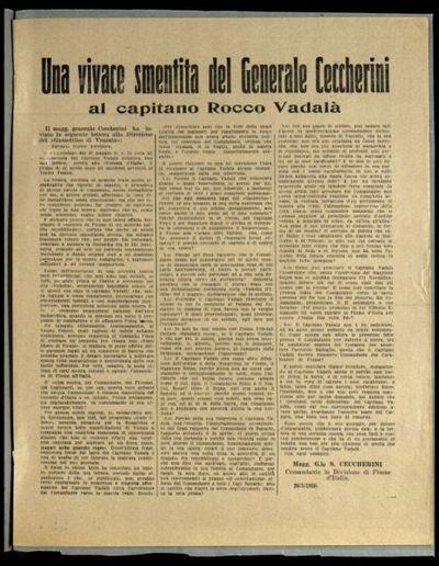 Una vivace smentita del Generale Ceccherini al Capitano Rocco Vadalà  / Magg. G.le S. Ceccherini comandante la Divisione di Fiume d'Italia