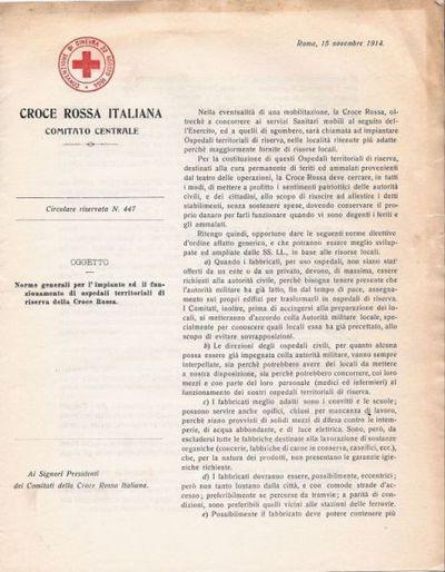Note generali per l'impianto ed il funzionamento di ospedali territoriali di riserva della Croce rossa : Circolare riservata n. 447