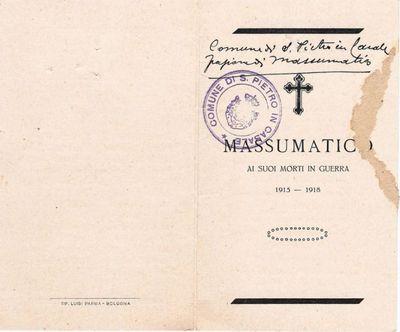 Massumatico ai suoi morti in guerra 1915-1918