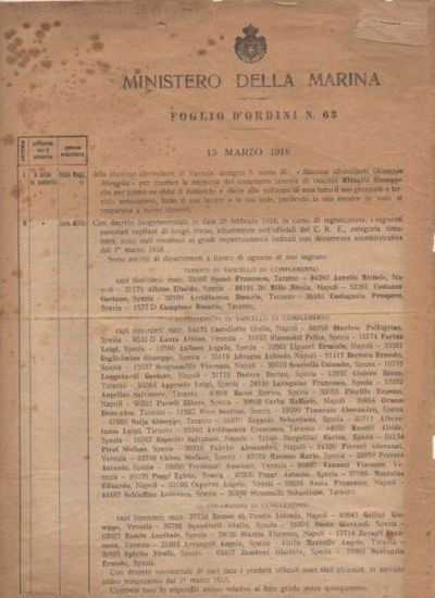 Foglio d'ordini n. 63 : 13 marzo 1918 / Ministero della Marina