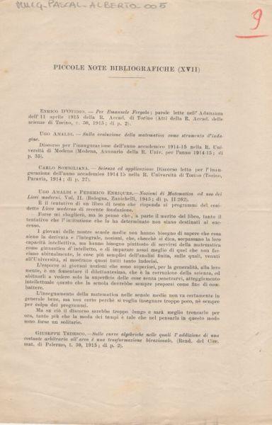 Piccole note bibliografiche (17.) / [Alberto Pascal]