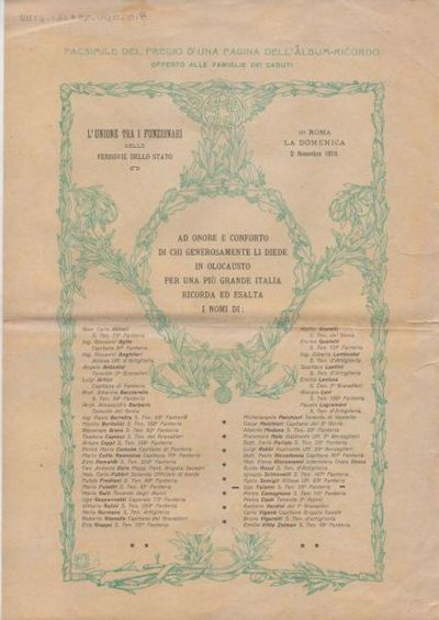 Facsimile del fregio d'una pagina dell'album-ricordo offerto alle famiglie dei caduti