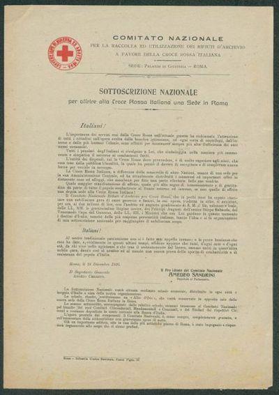 Sottoscrizione nazionale per offrire alla Croce Rossa Italiana una sede a Roma / Comitato Nazionale per la raccolta ed utilizzazione dei rifiuti d'archivio a favore della Croce Rossa Italiana