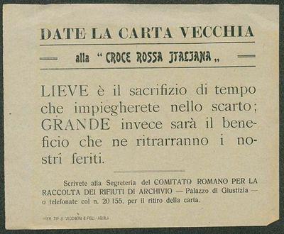 Date la carta vecchia alla Croce Rossa Italiana