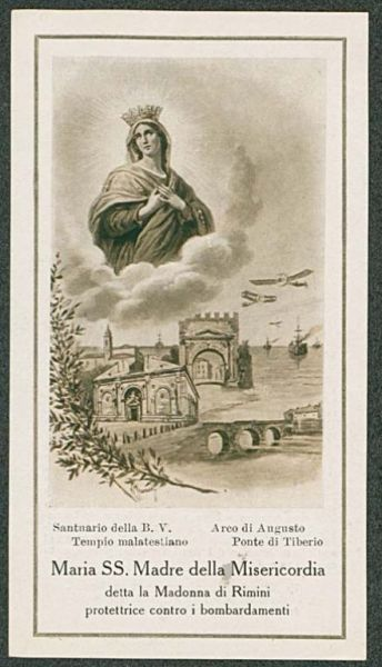 La cieca ira nemica avida d'immeritata rovina fulminava dal mare questo pesante proiettile il 18 giugno 1915 ma l'accoglieva innocuo Maria ai piedi del suo altare qual trofeo glorioso delle sue misericordie