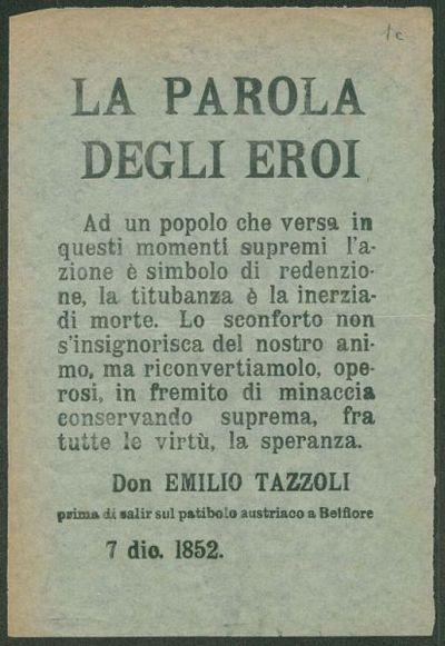 La parola degli eroi  / Don Emilio Tazzoli