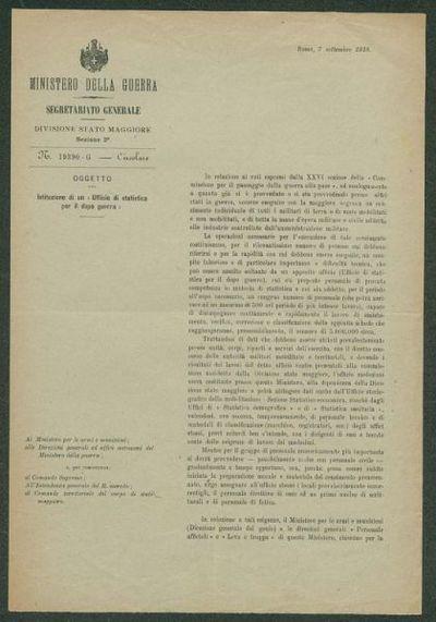 Istituzione di un Ufficio di statistica per il dopo guerra  : N. 19390-G, circolare  / Ministero della guerra, Segretariato generale, divisione Stato maggiore