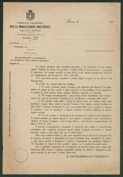 Riconoscimento a proseguire il commercio dei rottami metallici  / Comitato regionale per la mobilitazione industriale dell'Italia centrale