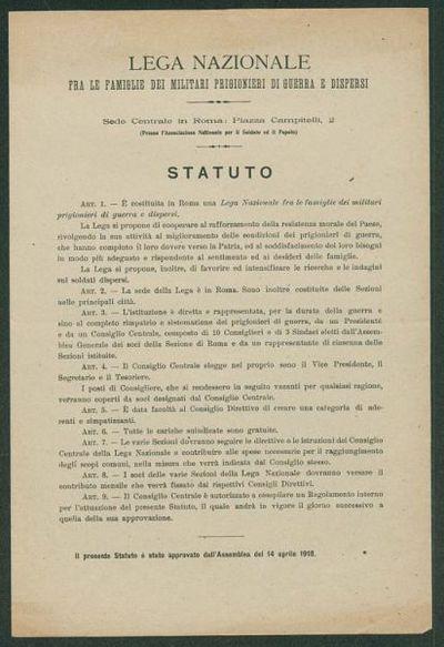 Statuto  / Lega nazionale fra le famiglie dei militari prigionieri di guerra e dispersi