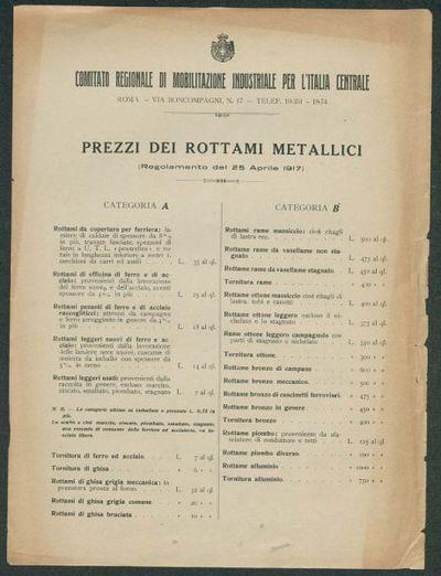 Prezzi dei rottami metallici  : Regolamento del 25 aprile 1917  / Comitato regionale di mobilitazione industriale per l'Italia centrale
