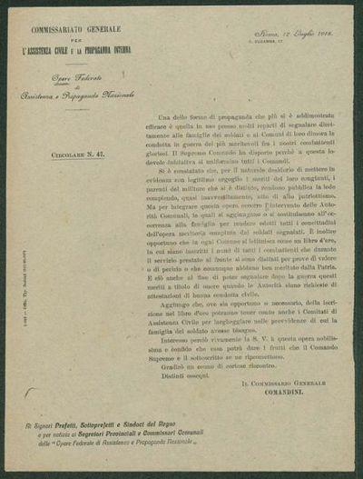 Circolare n. 47  / Commissariato generale per l'assistenza civile e la propaganda interna, Opere federate di assistenza e propaganda nazionale