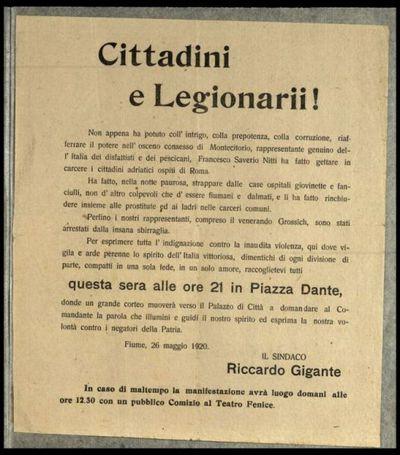 Cittadini e legionarii!  / Il sindaco Riccardo Gigante