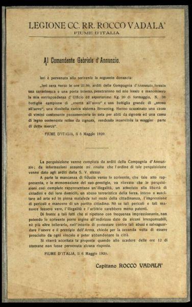 Al comandante Gabriele D'Annunzio  / capitano Rocco Vadalà