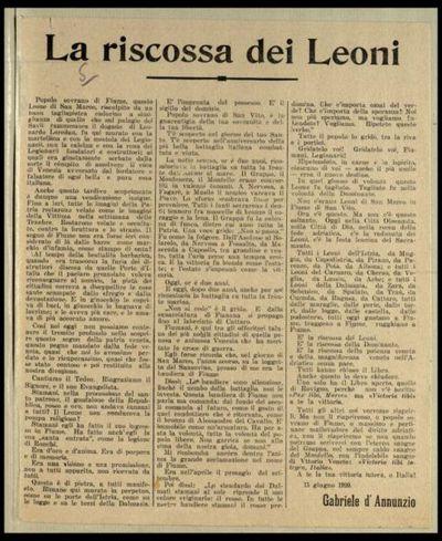 La riscossa dei leoni  / Gabriele d'Annunzio