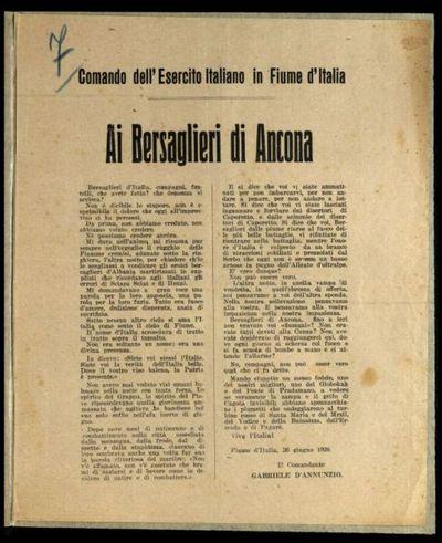 Ai Bersaglieri di Ancona  / il comandante Gabriele d'Annunzio
