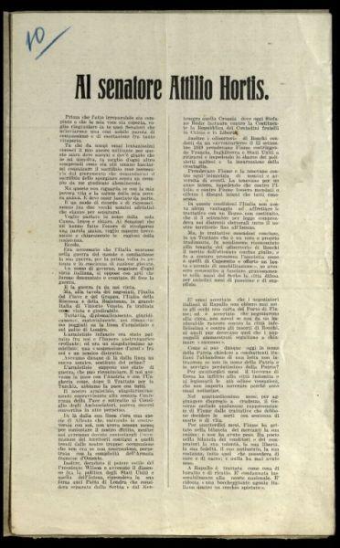 Al senatore Attilio Hortis  / Gabriele d'Annunzio
