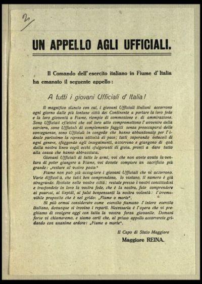 Un appello agli ufficiali  : il Comando dell'Esercito Italiano in Fiume d'Italia ha emanato il seguente appello A tutti i giovani ufficiali d'Italia!