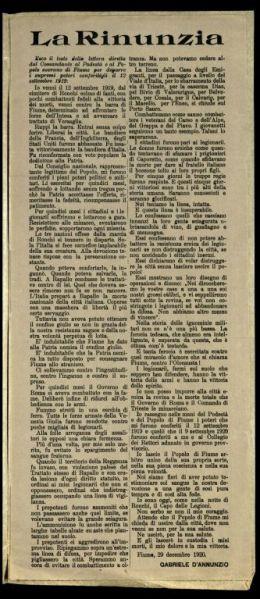La rinunzia  / Gabriele d'Annunzio