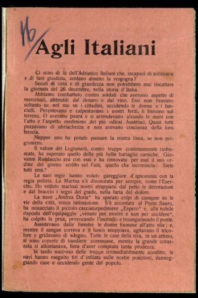 Agli Italiani  / Gabriele d'Annunzio