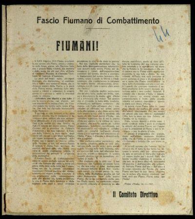 Fiumani!  / Fascio Fiumano di combattimento