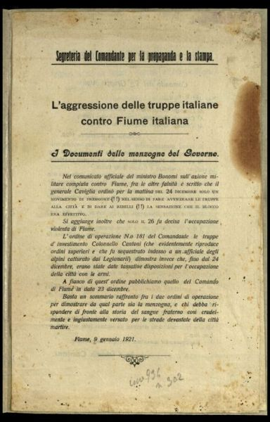 L'aggressione delle truppe italiane contro Fiume italiana  : i documenti delle menzogne del Governo  / Segreteria del Comandante per la propaganda e la stampa