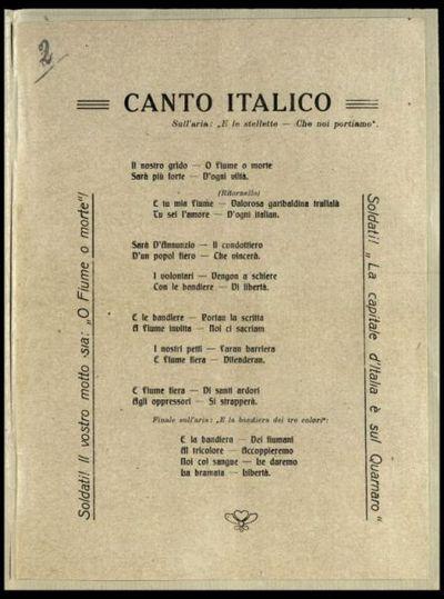 Canto italico  : sull'aria E le stellette che noi portiamo