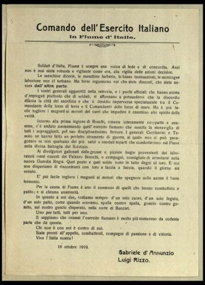 Comando dell'Esercito italiano in Fiume d'Italia  / Gabriele d'Annunzio, Luigi Rizzo