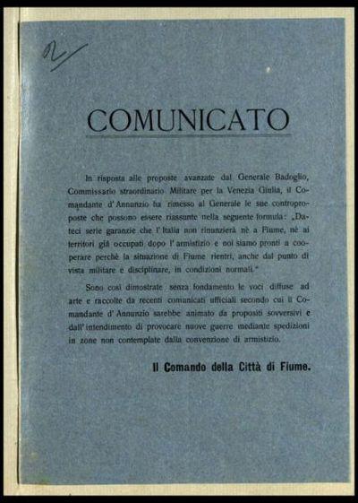 Comunicato  / il Comando della città di Fiume